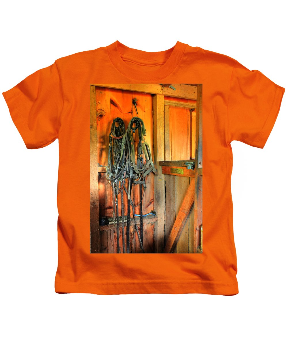 Horse Tack Kids T-Shirt featuring the photograph Horse Tack by Paul Ward