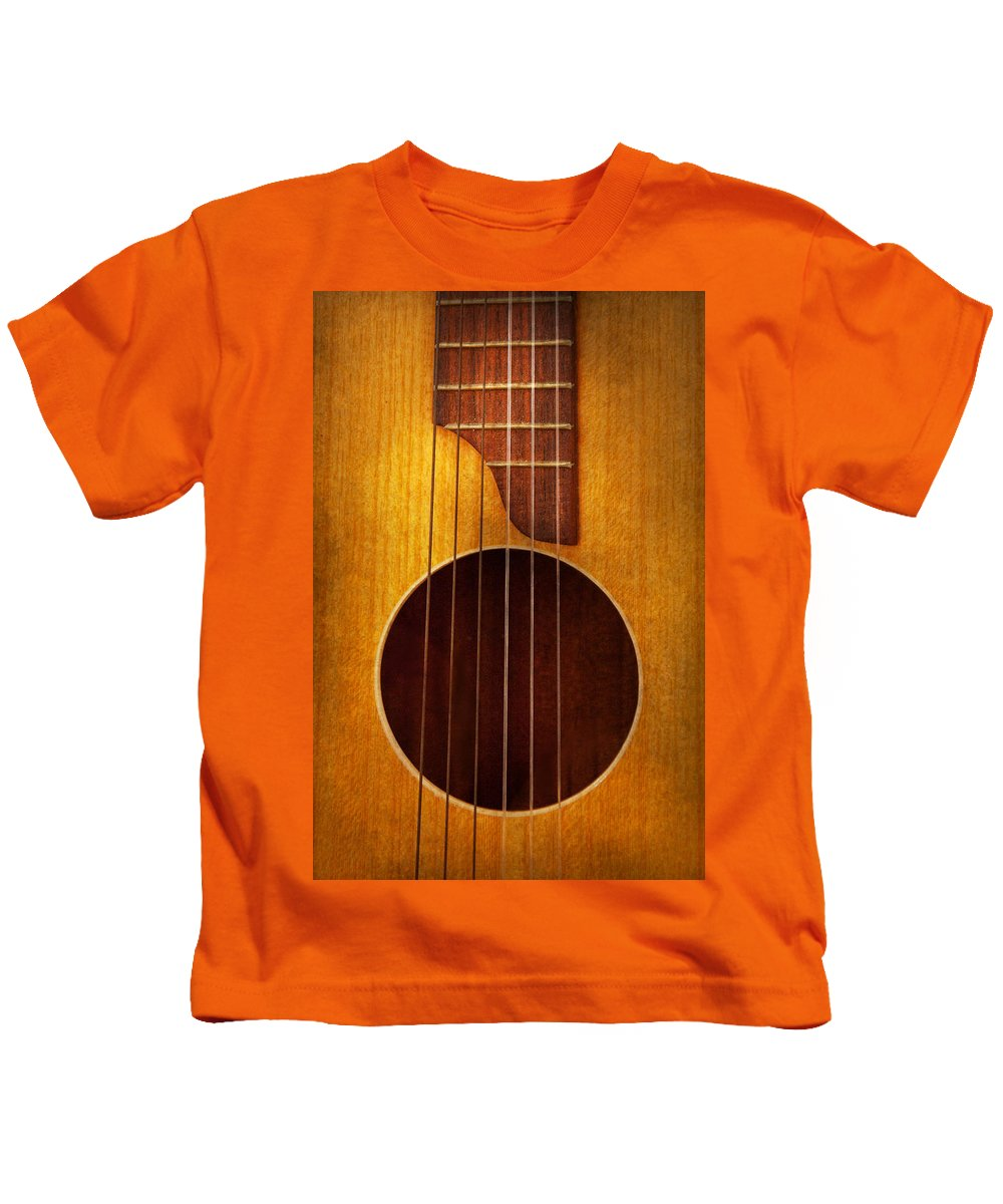Guitar Kids T-Shirt featuring the photograph Instrument - Guitar - Let's Play Some Music by Mike Savad