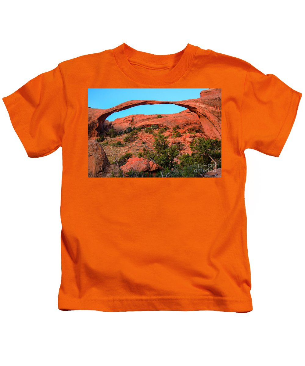 Arches Kids T-Shirt featuring the photograph Landscape Arch by Robert Bales