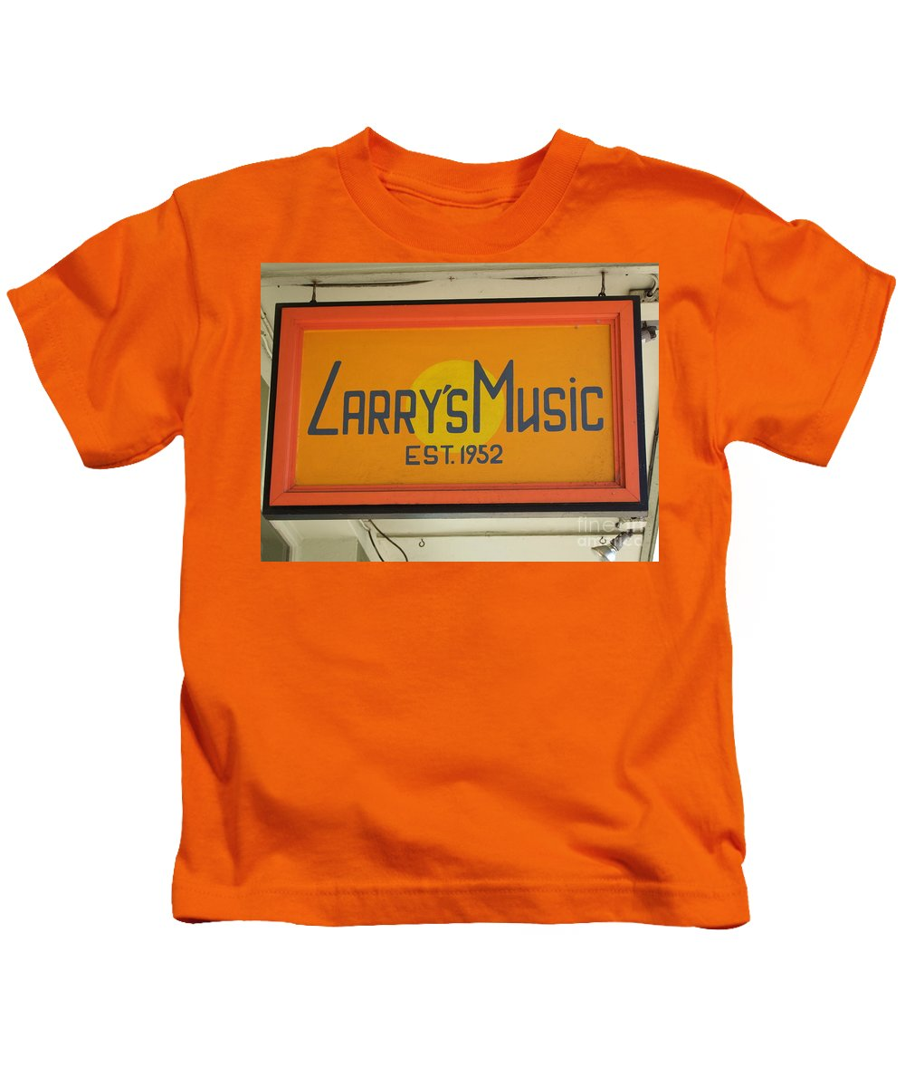 Mary Deal Kids T-Shirt featuring the photograph Larrys Music Est 1952 by Mary Deal