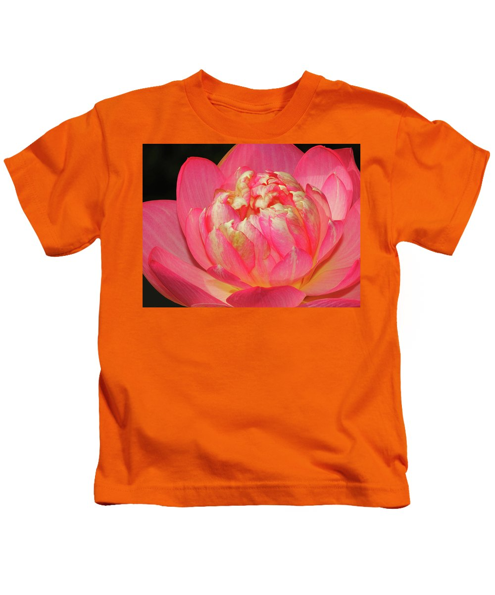 Lotus Kids T-Shirt featuring the photograph Lotus Unfolding by Dave Mills