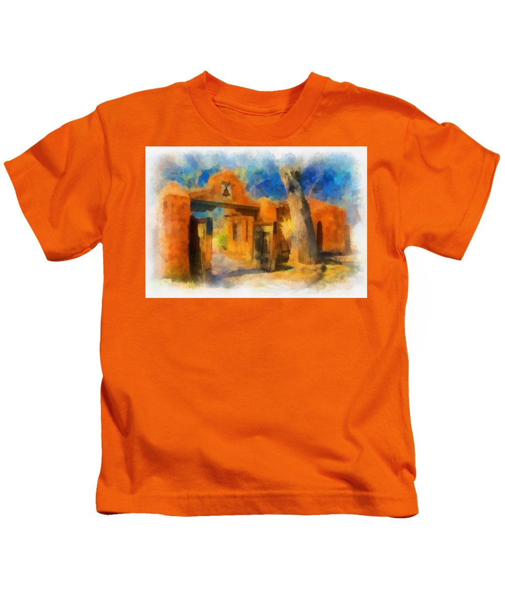 Santa Kids T-Shirt featuring the digital art Mabel's Gate Watercolor by Charles Muhle