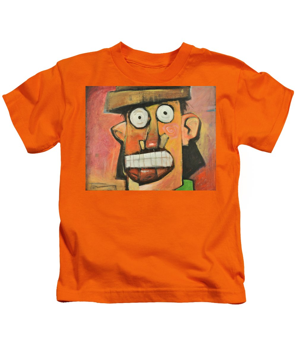 Cartoon Kids T-Shirt featuring the painting Man With Terracotta Hat And Green Shirt by Tim Nyberg