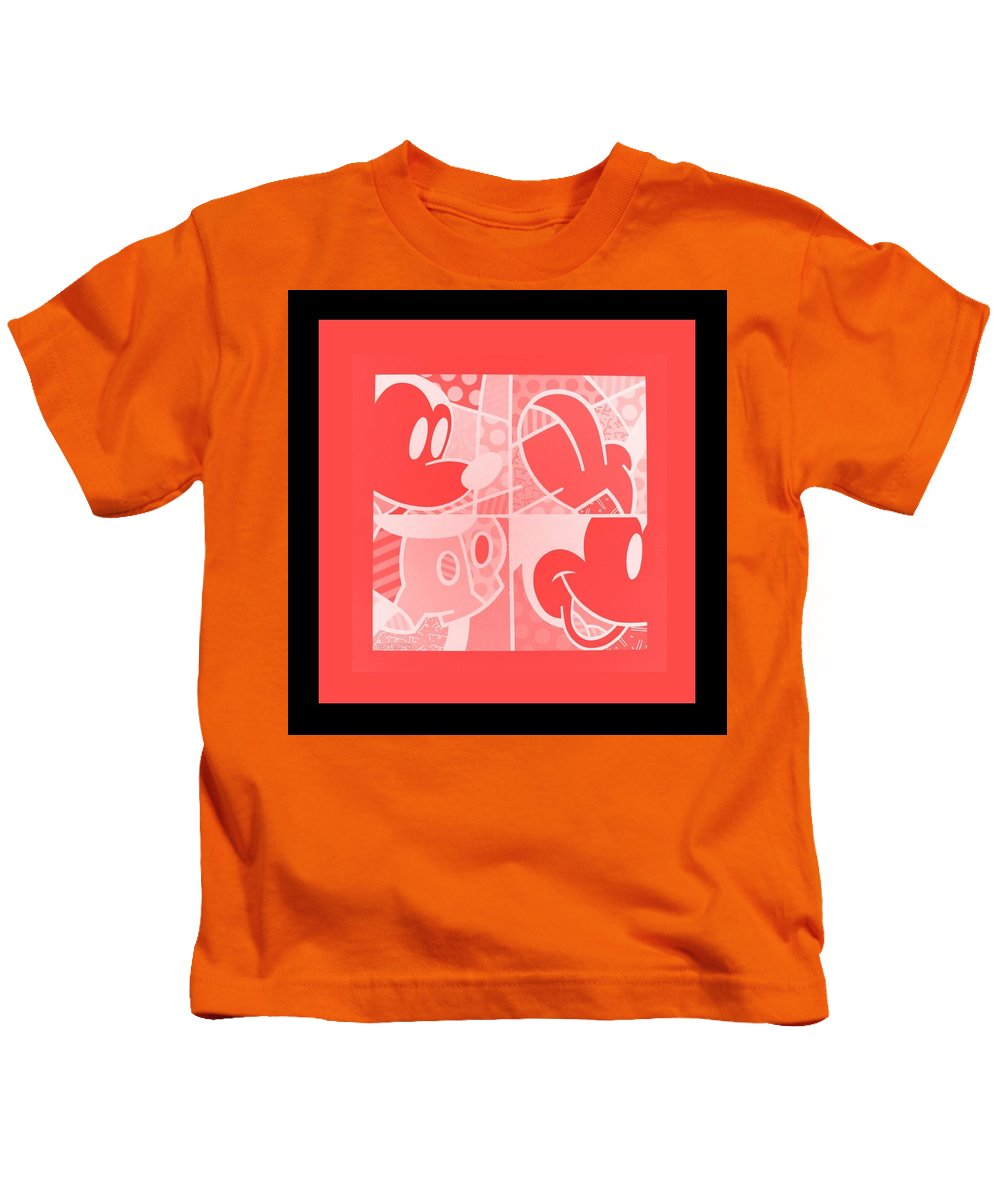 Mickey Mouse Kids T-Shirt featuring the photograph Mickey In Negative Red by Rob Hans