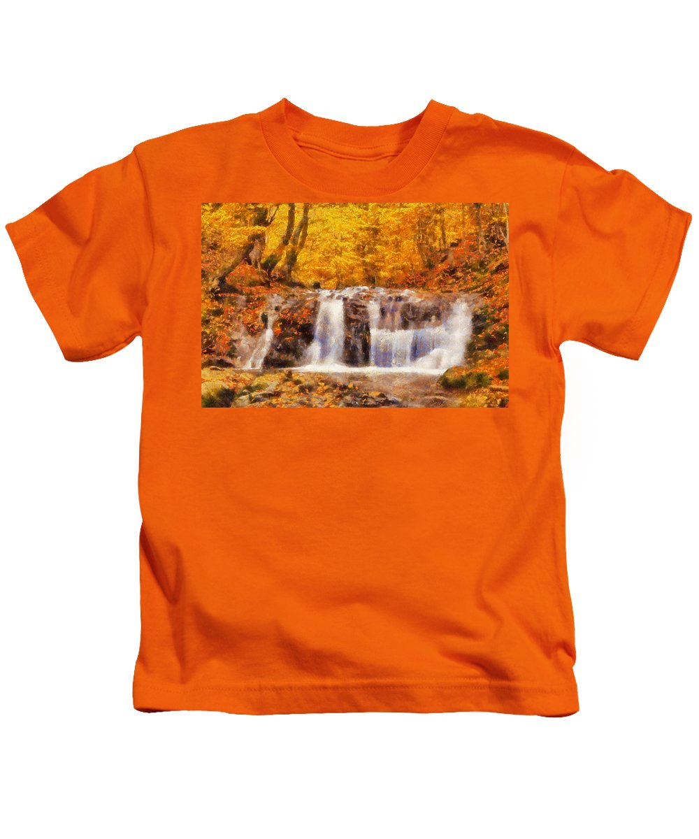 Waterfall Kids T-Shirt featuring the painting Mountain Creek Falls by Lynne Jenkins