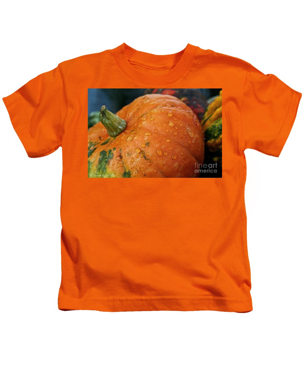 Outdoors Kids T-Shirt featuring the photograph October Rain Drops by Susan Herber