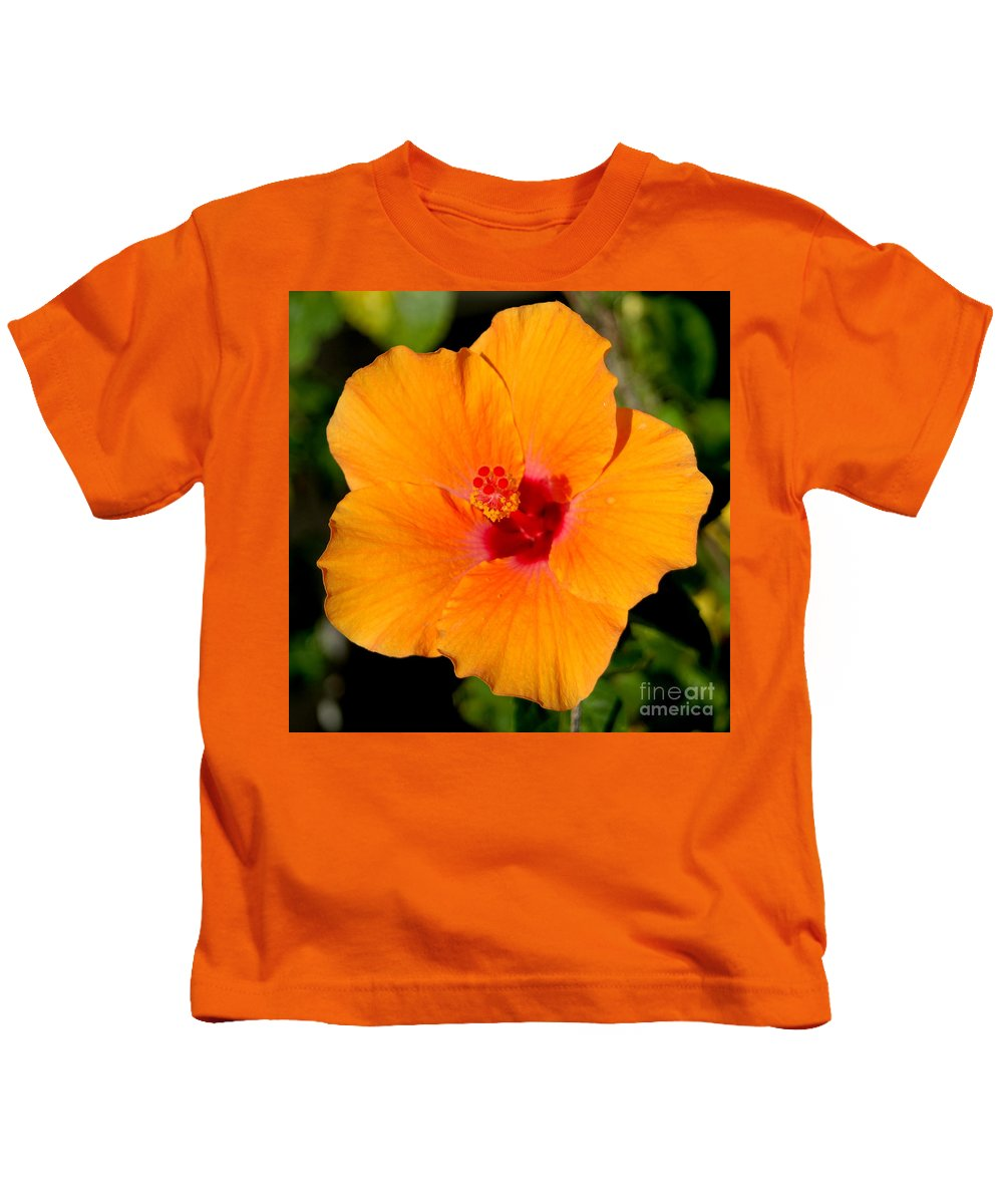 Flora Kids T-Shirt featuring the photograph Orange Hibiscus by Mark Gilman