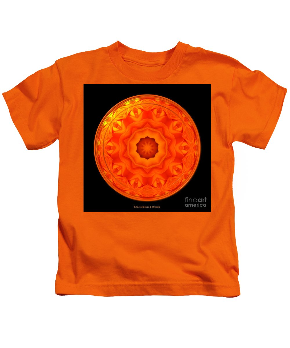 Rose Kids T-Shirt featuring the photograph Orange Rose Kaleidoscope Under Glass by Rose Santuci-Sofranko