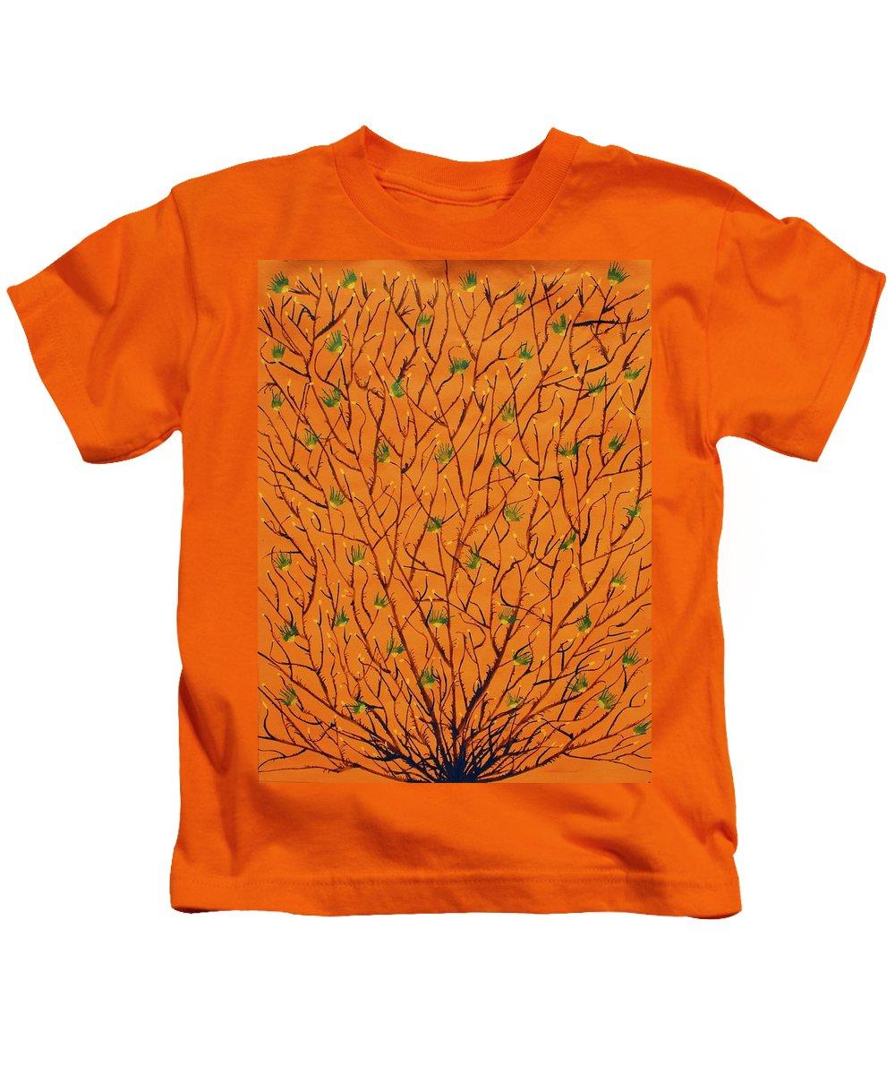 Kids T-Shirt featuring the painting Orange Tree by Sumit Mehndiratta
