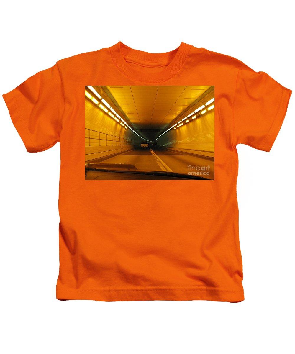 Orange Kids T-Shirt featuring the photograph Orange Tunnel In Dc by Ausra Huntington nee Paulauskaite