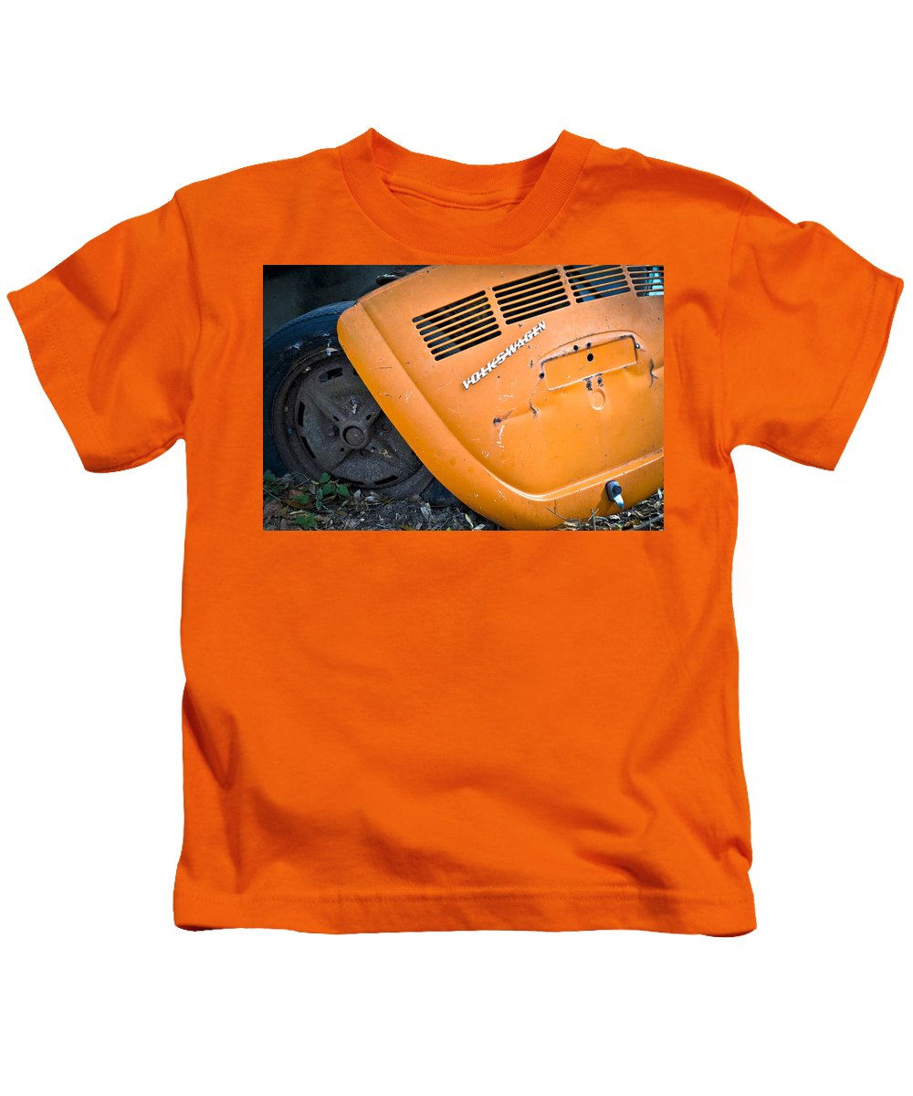 Vw Bug Kids T-Shirt featuring the photograph Orange Vw Bug by Carolyn Marshall