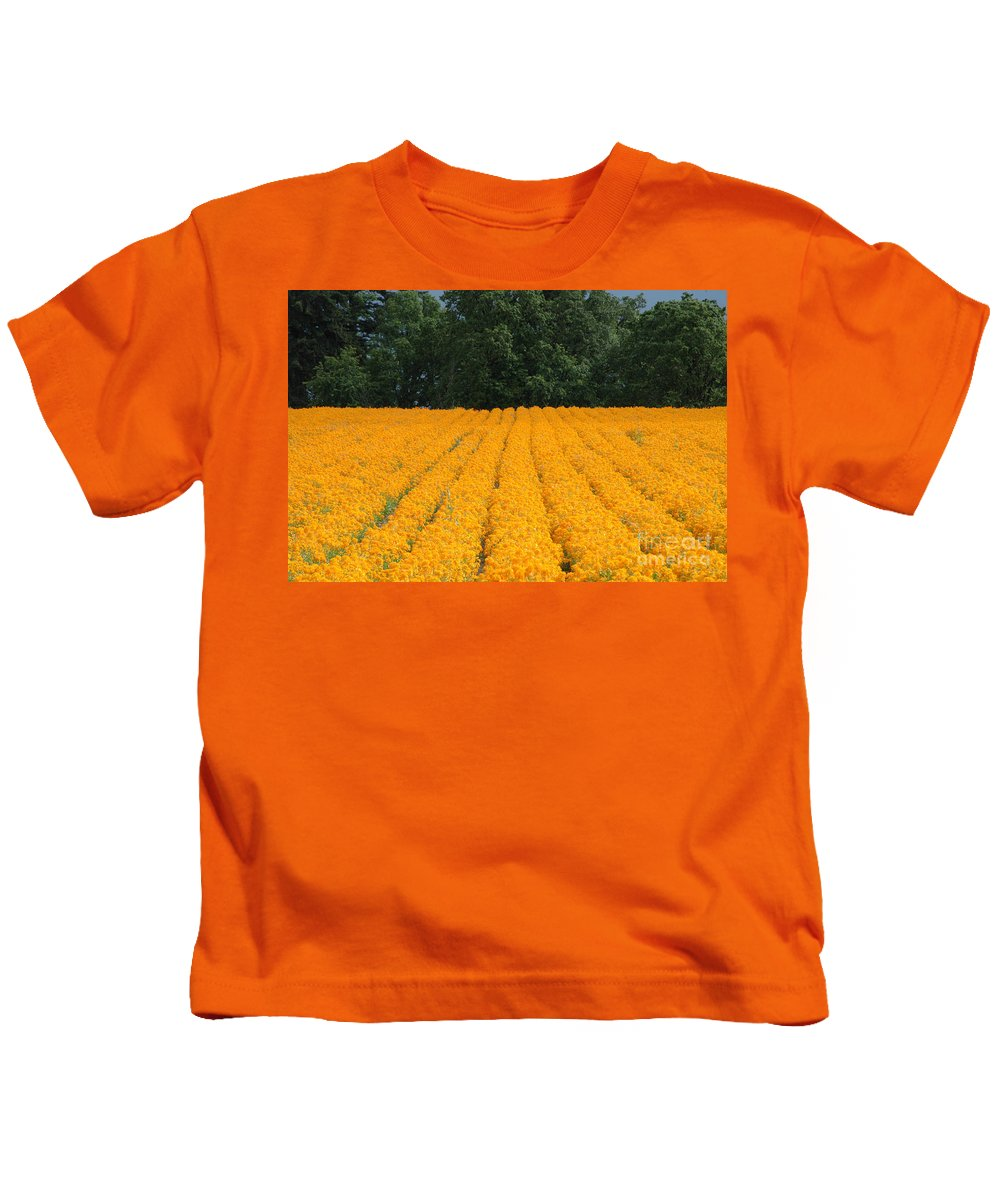 Oregon Kids T-Shirt featuring the photograph Oregon Orange Field by Mike Nellums