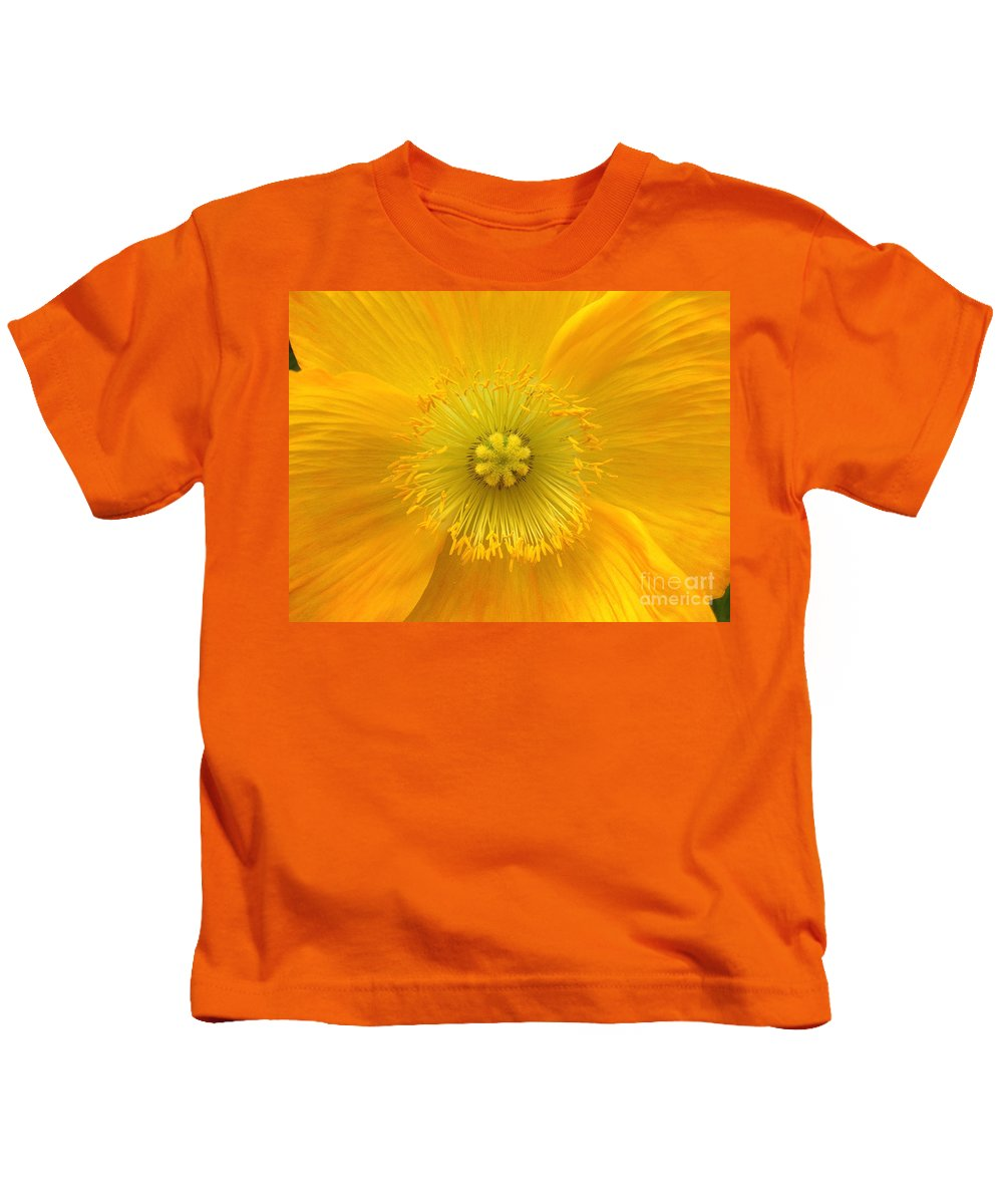 Yellow Kids T-Shirt featuring the photograph Poppy 2 by Jacklyn Duryea Fraizer