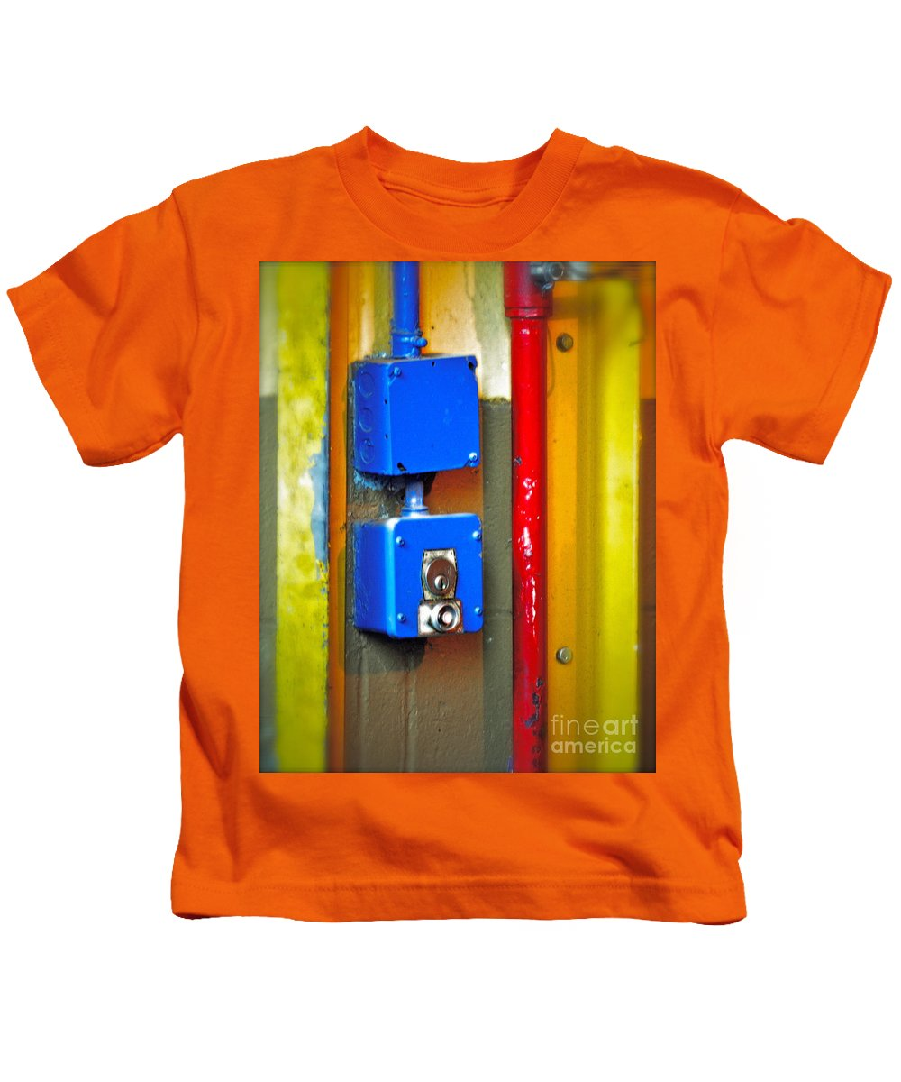 Blue Kids T-Shirt featuring the photograph Primary Parts by Gwyn Newcombe