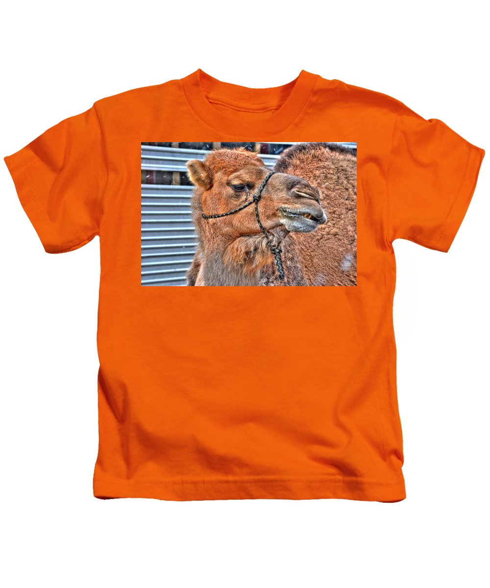 Kids T-Shirt featuring the photograph psssst  Over Here Bud by Michael Frank Jr