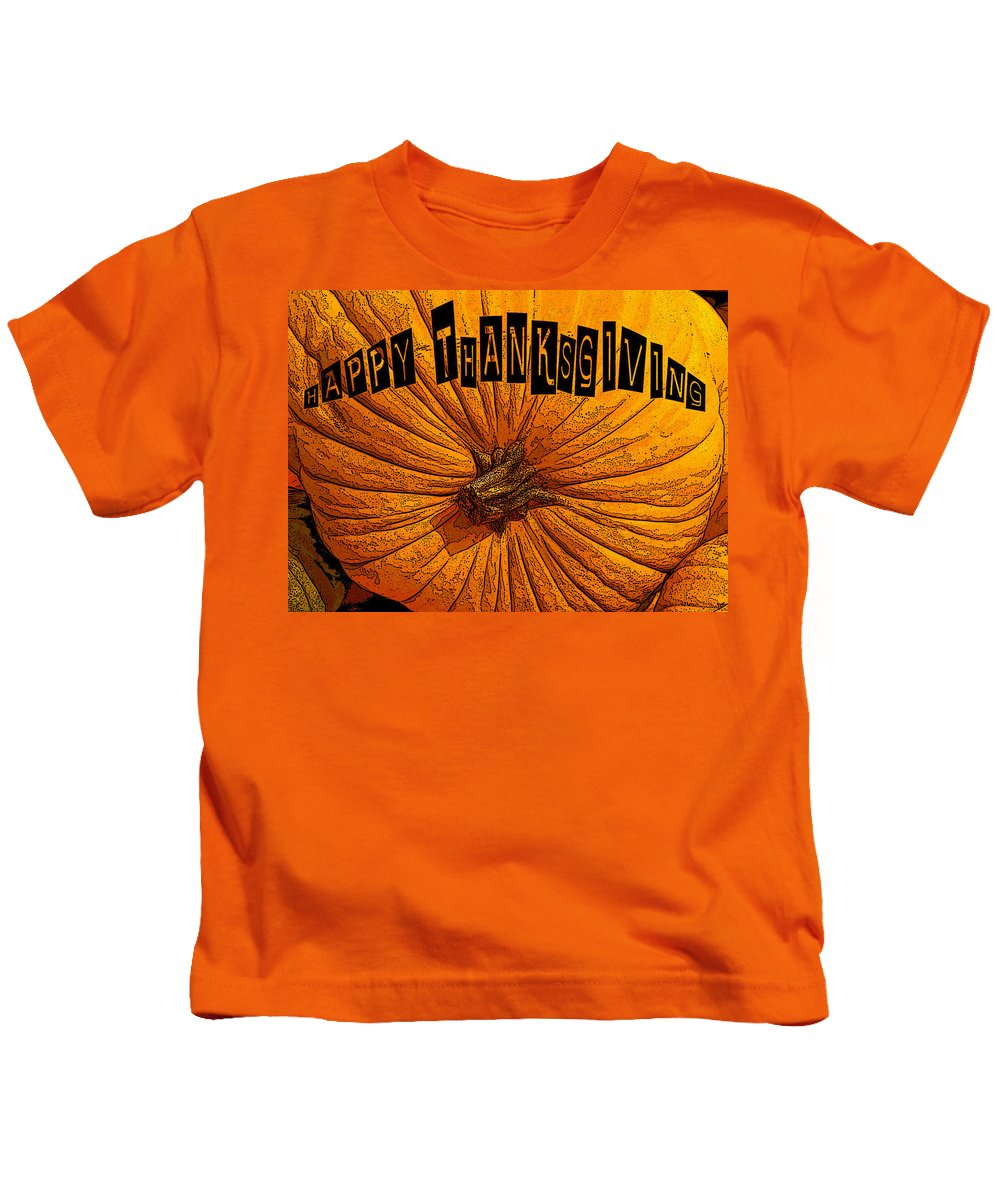Art Kids T-Shirt featuring the painting Pumpkin Holiday by David Lee Thompson