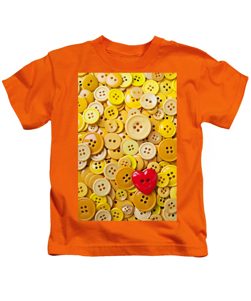 Red Heart Kids T-Shirt featuring the photograph Red Heart And Yellow Buttons by Garry Gay
