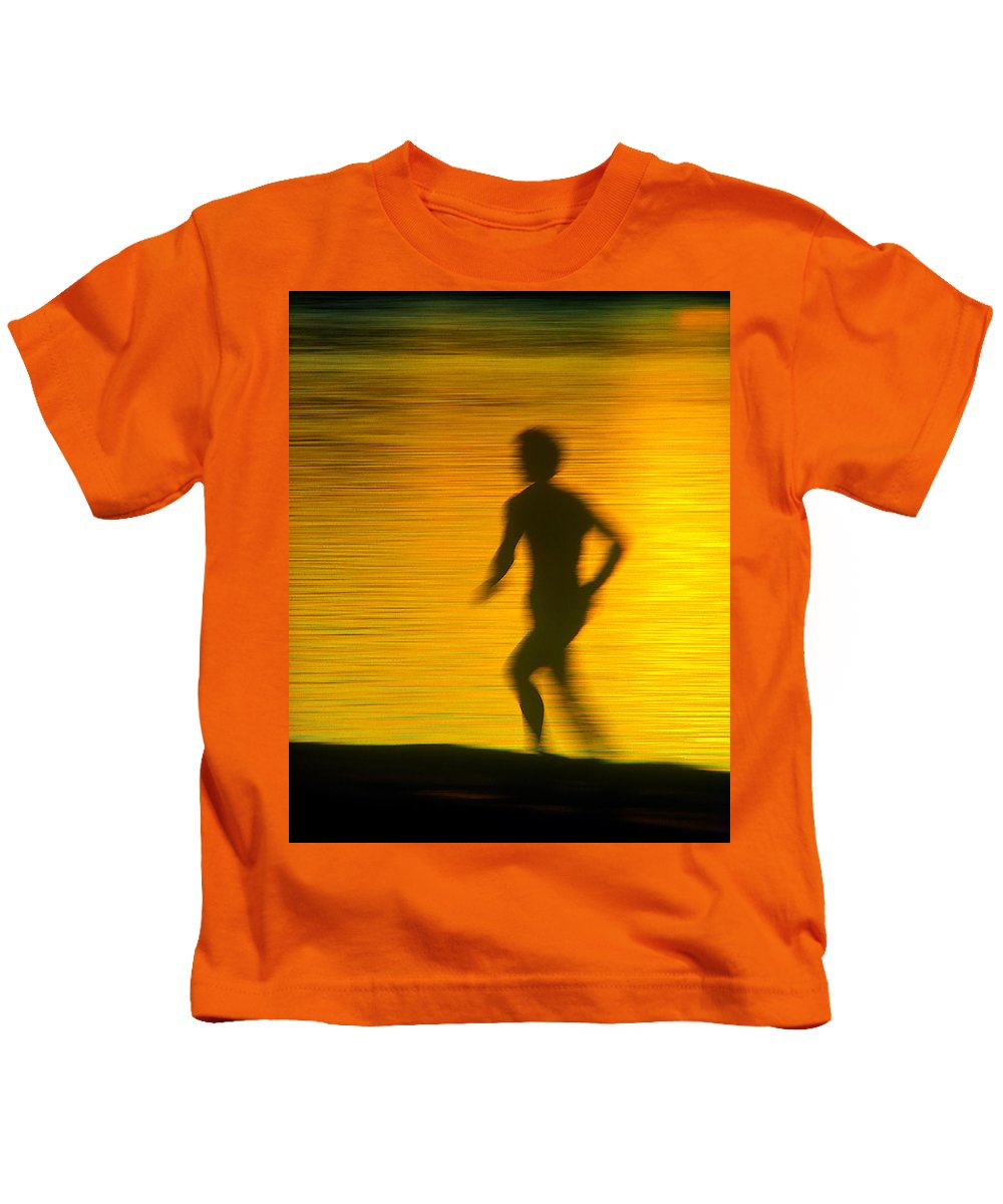 Jogger Kids T-Shirt featuring the photograph River Runner 1 by Garry McMichael