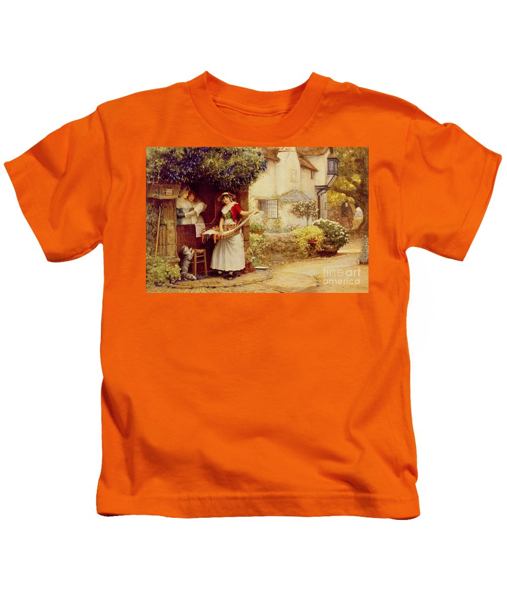Women; Cottage; Pedlar; Wisteria; Village Life; Cat; Customer; Customers; Birdcage; Commerce; Trade; Traveller; Doorway; Victorian; Selling Songs Kids T-Shirt featuring the painting The Ballad Seller by Robert Walker Macbeth
