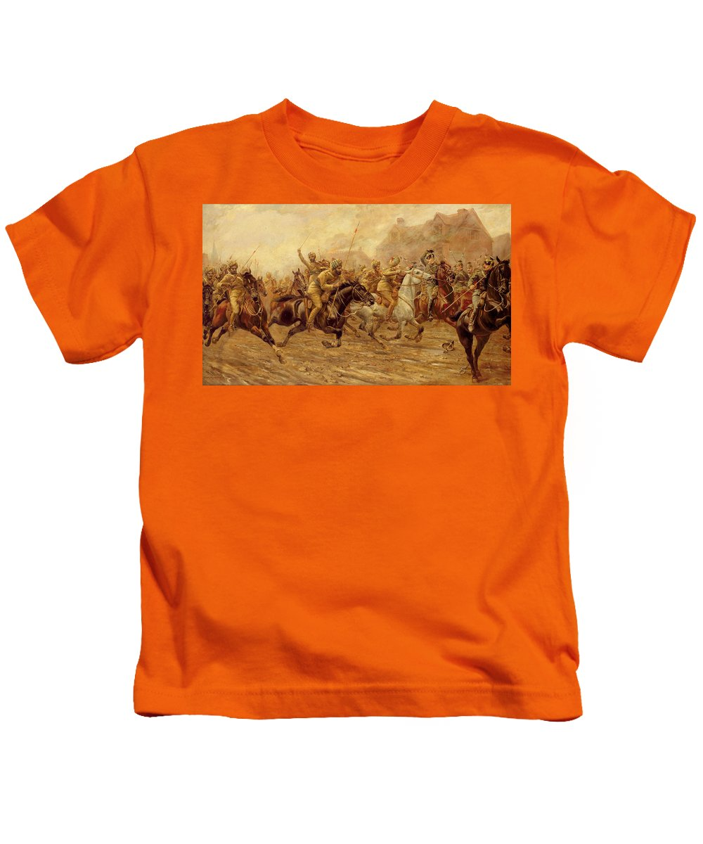 The Charge Of The Bengal Lancers At Neuve Chapelle Kids T-Shirt featuring the painting The Charge Of The Bengal Lancers At Neuve Chapelle by Derville Rowlandson
