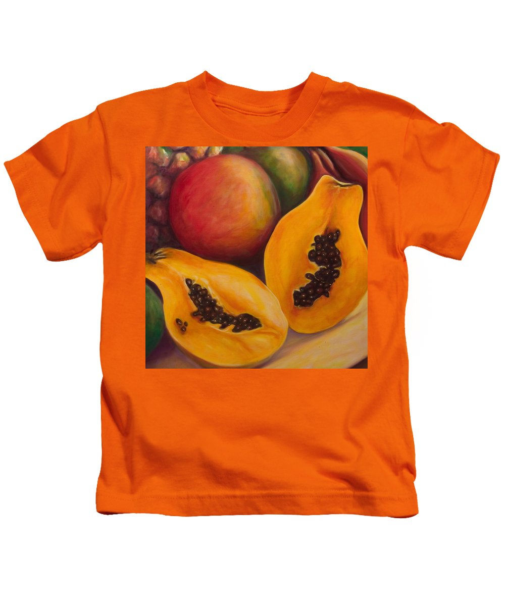 Twins Kids T-Shirt featuring the painting Twins Crop by Shannon Grissom