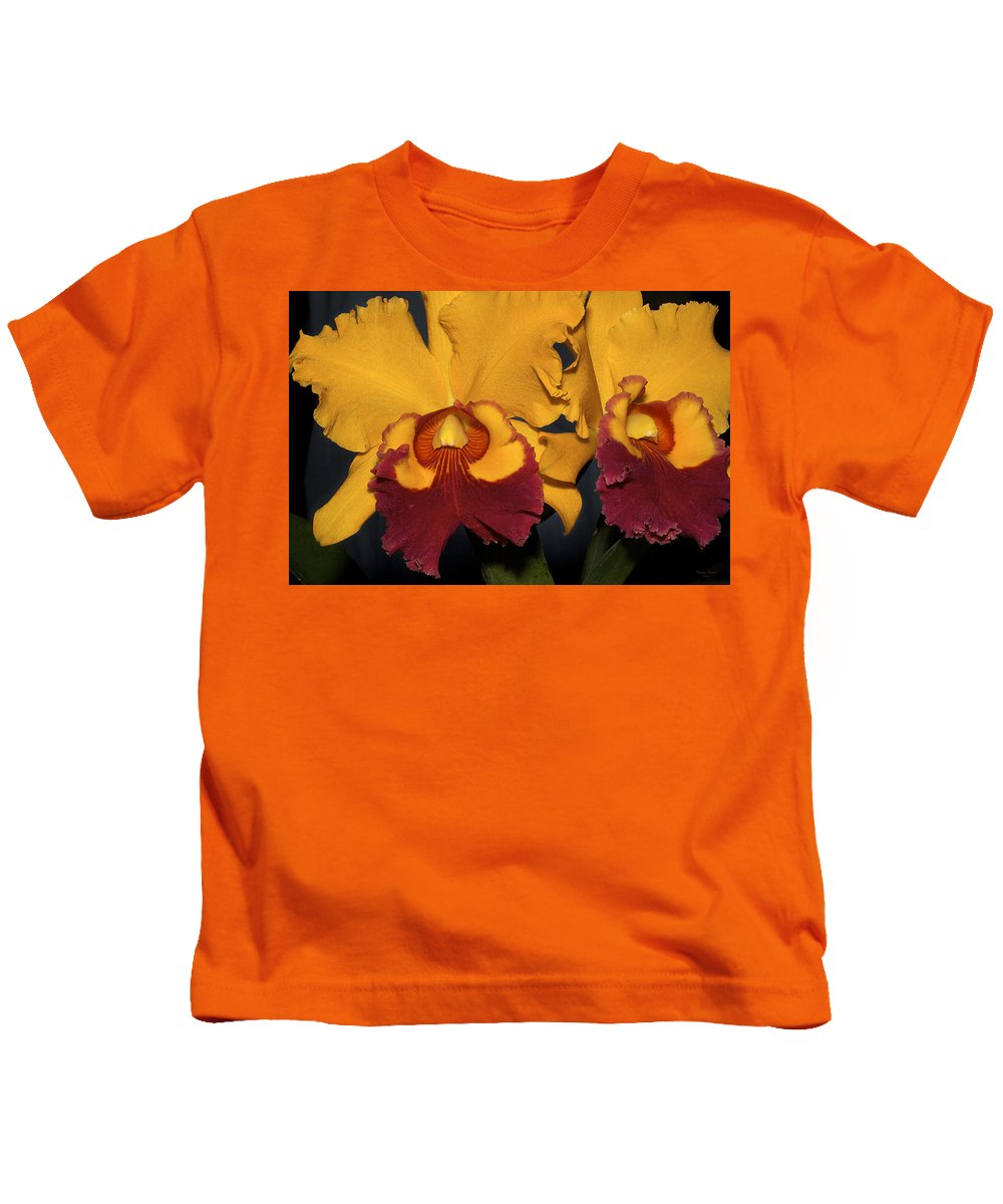 Orchids Yellow Kids T-Shirt featuring the photograph Two Yellow And Red Orchids by Phyllis Denton