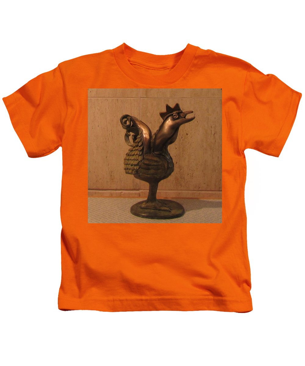 Wakeup Kids T-Shirt featuring the sculpture Wakeup Call Rooster Bronze Sculpture With Beak Feathers Tail Brass And Opaque Surface by Rachel Hershkovitz