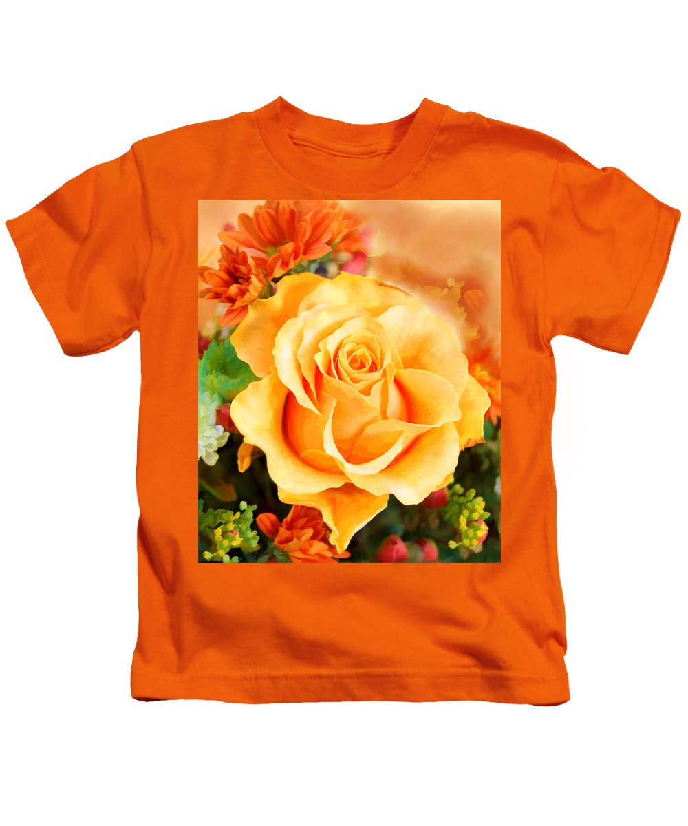 Rose Kids T-Shirt featuring the painting Water Color Yellow Rose With Orange Flower Accents by Elaine Plesser