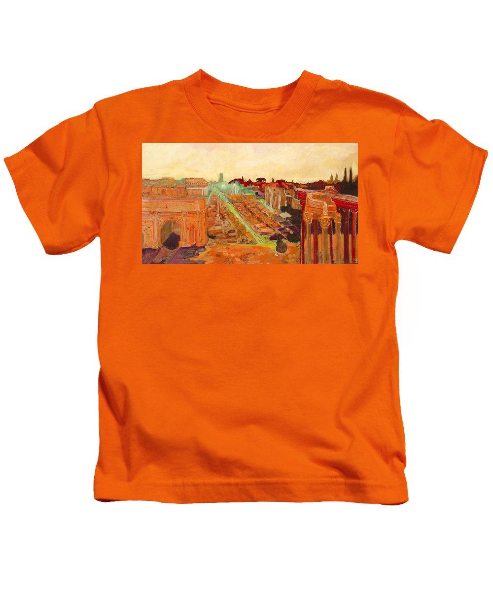 Rome Kids T-Shirt featuring the painting Foro Romano by Kurt Hausmann