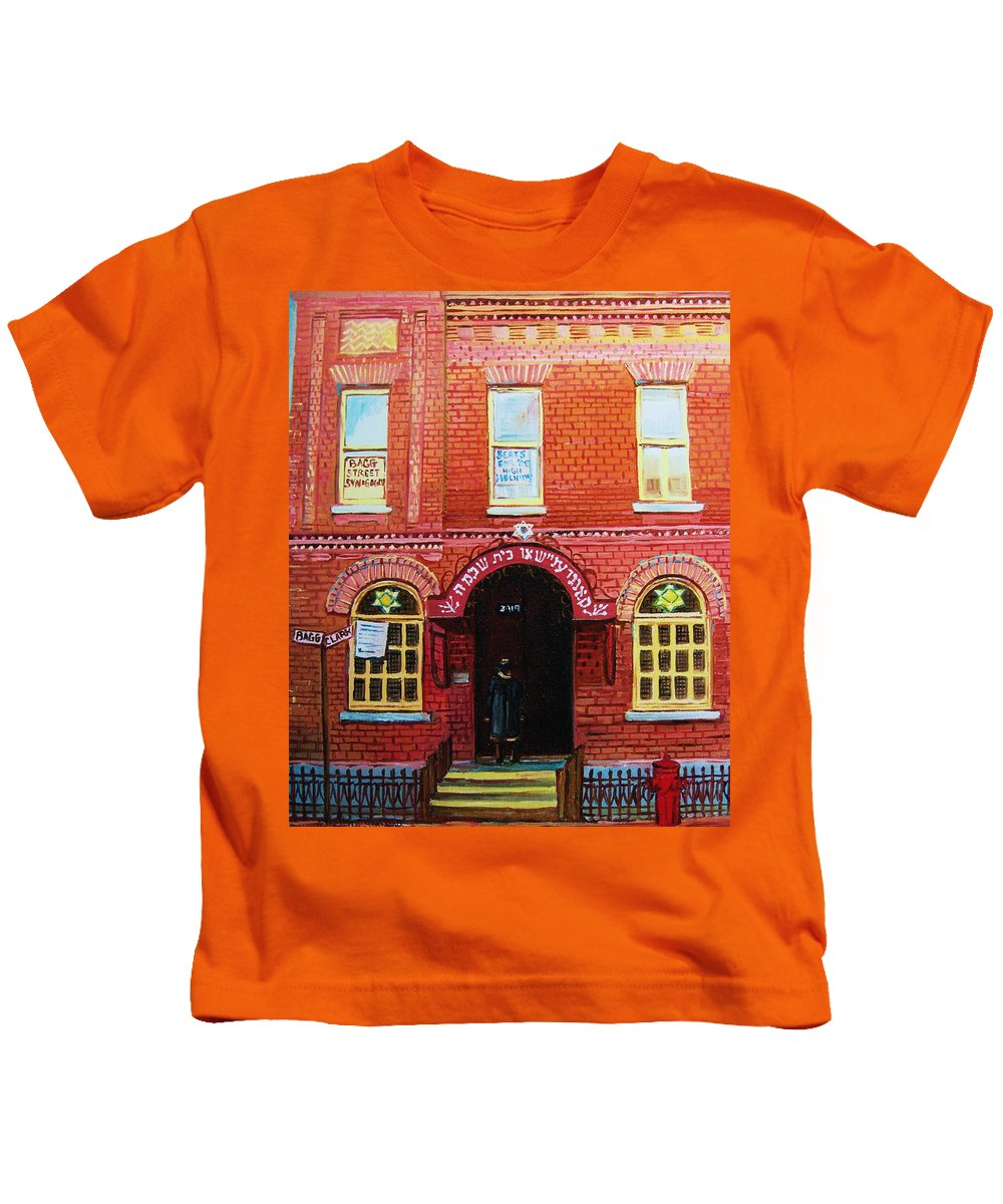 Synagogues Kids T-Shirt featuring the painting Temple Solomon Congregation by Carole Spandau