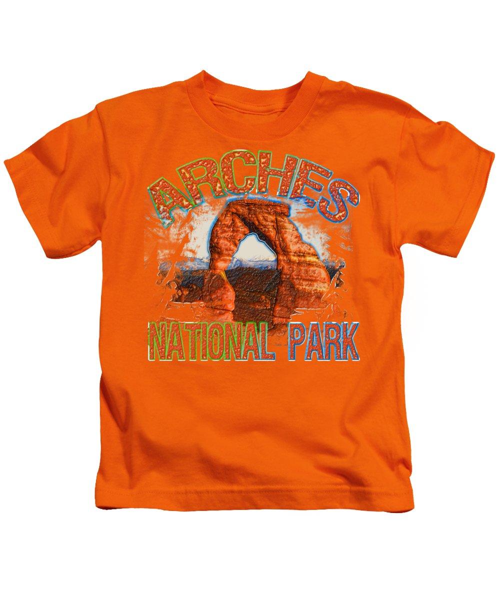 Arches National Park Digital Art Kids T-Shirts