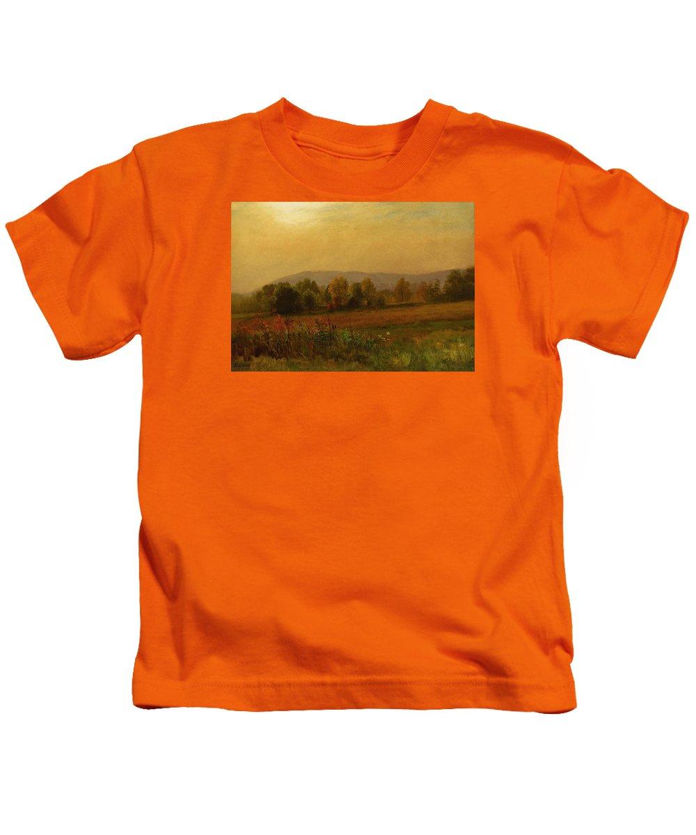 Albert Bierstadt Kids T-Shirt featuring the painting Autumn Landscape New England by Albert Bierstadt