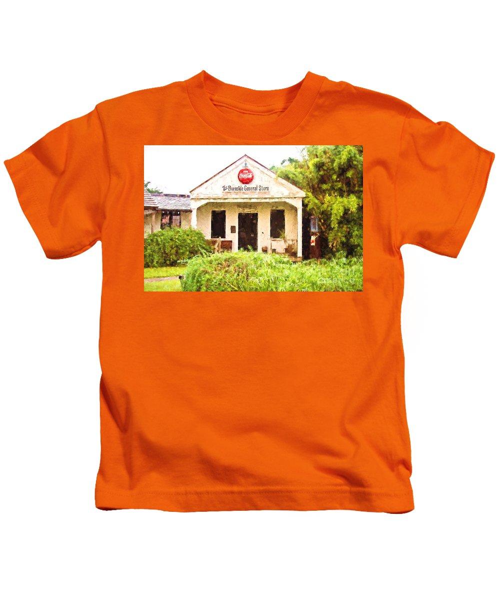 General Store Kids T-Shirt featuring the photograph Burnside General Store - Digital Painting by Scott Pellegrin