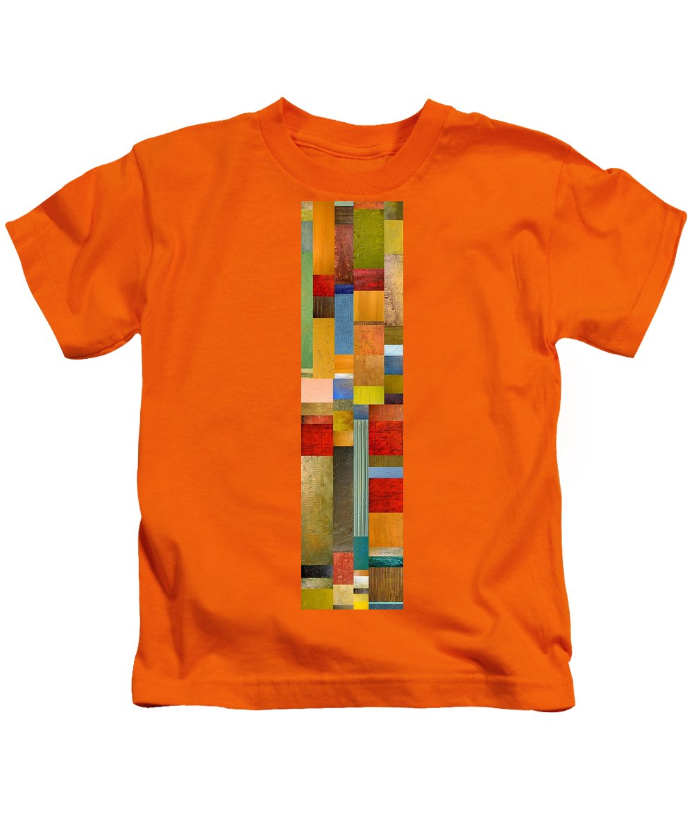 Skinny Kids T-Shirt featuring the painting Color Panels With Green Grass by Michelle Calkins