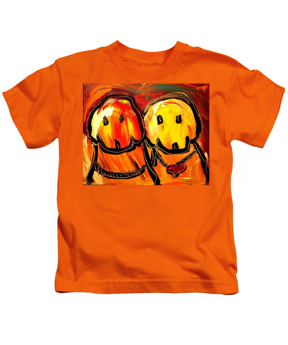 Red Poppies Kids T-Shirt featuring the painting Dogs by Mark Kazav