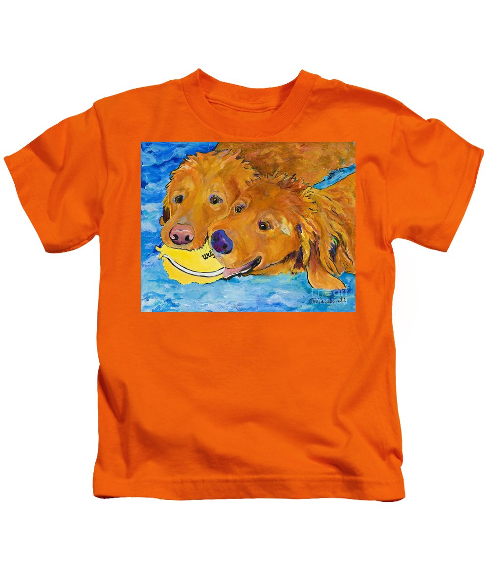 Golden Retriever Kids T-Shirt featuring the painting Double Your Pleasure by Pat Saunders-White