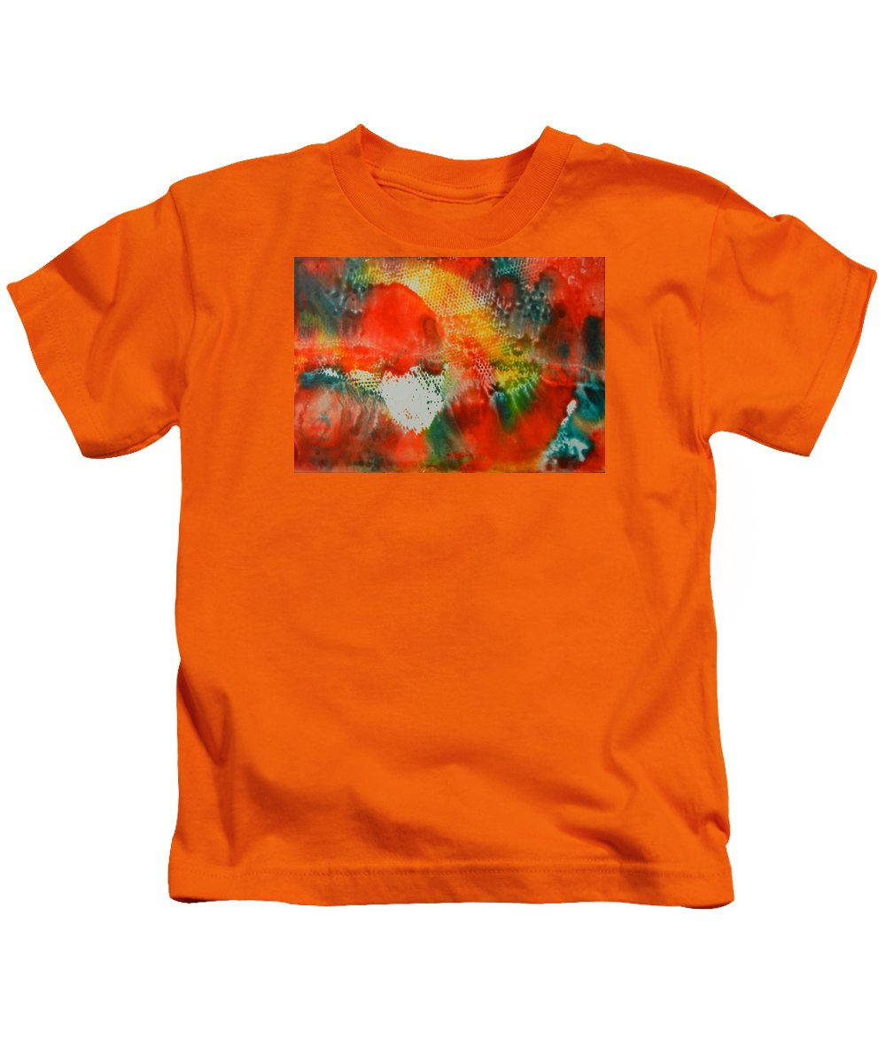 Abstract Kids T-Shirt featuring the painting Inferno by Kruti Shah