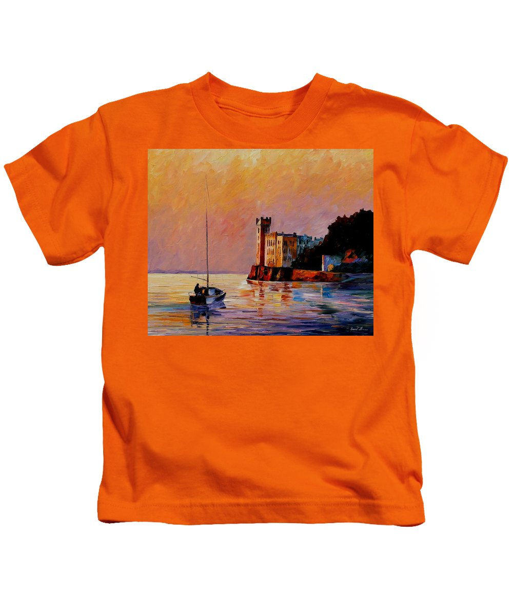 Afremov Kids T-Shirt featuring the painting Italy - Trieste Gulf by Leonid Afremov