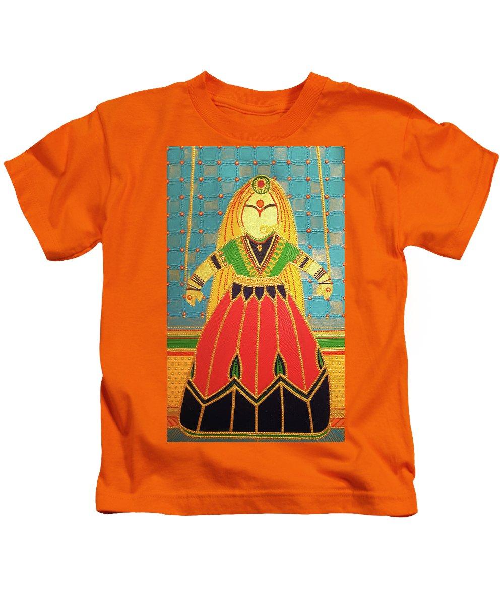 Kids T-Shirt featuring the painting Jaipur's Kathputli by Arpita B Ruparel