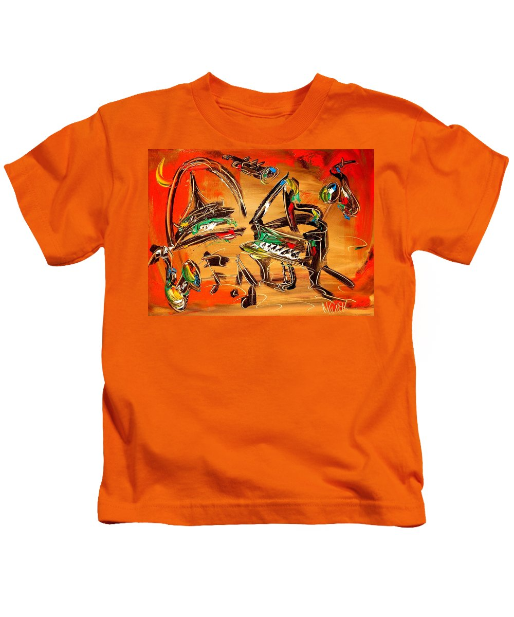 New York Kids T-Shirt featuring the painting Jazz by Mark Kazav