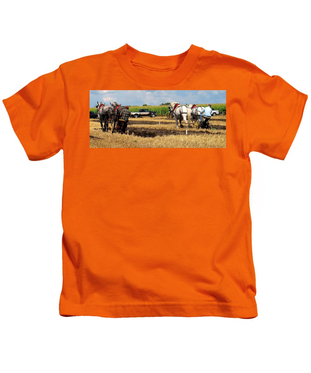 Horses Kids T-Shirt featuring the photograph Neck And Neck by Ian MacDonald