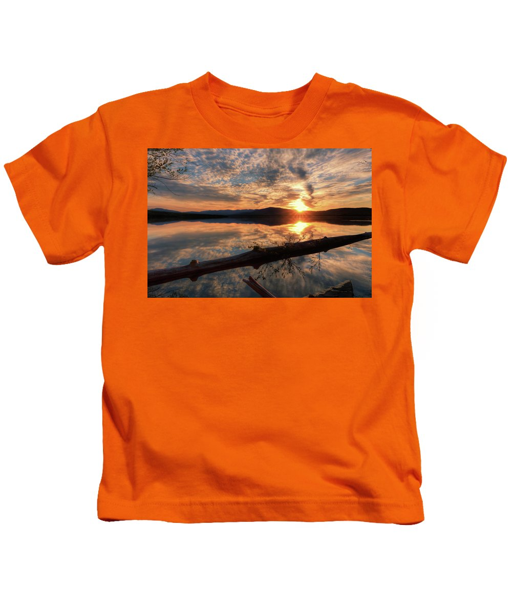 Ashokan Reservoir Kids T-Shirt featuring the pyrography Reflections by Rachel Snydstrup