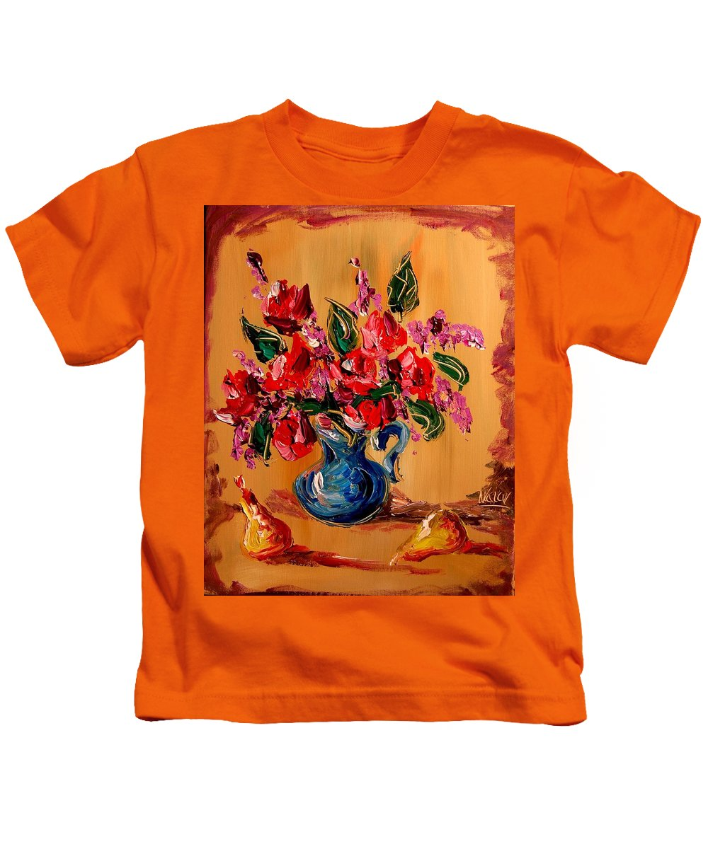 Roses Kids T-Shirt featuring the painting Roses by Mark Kazav