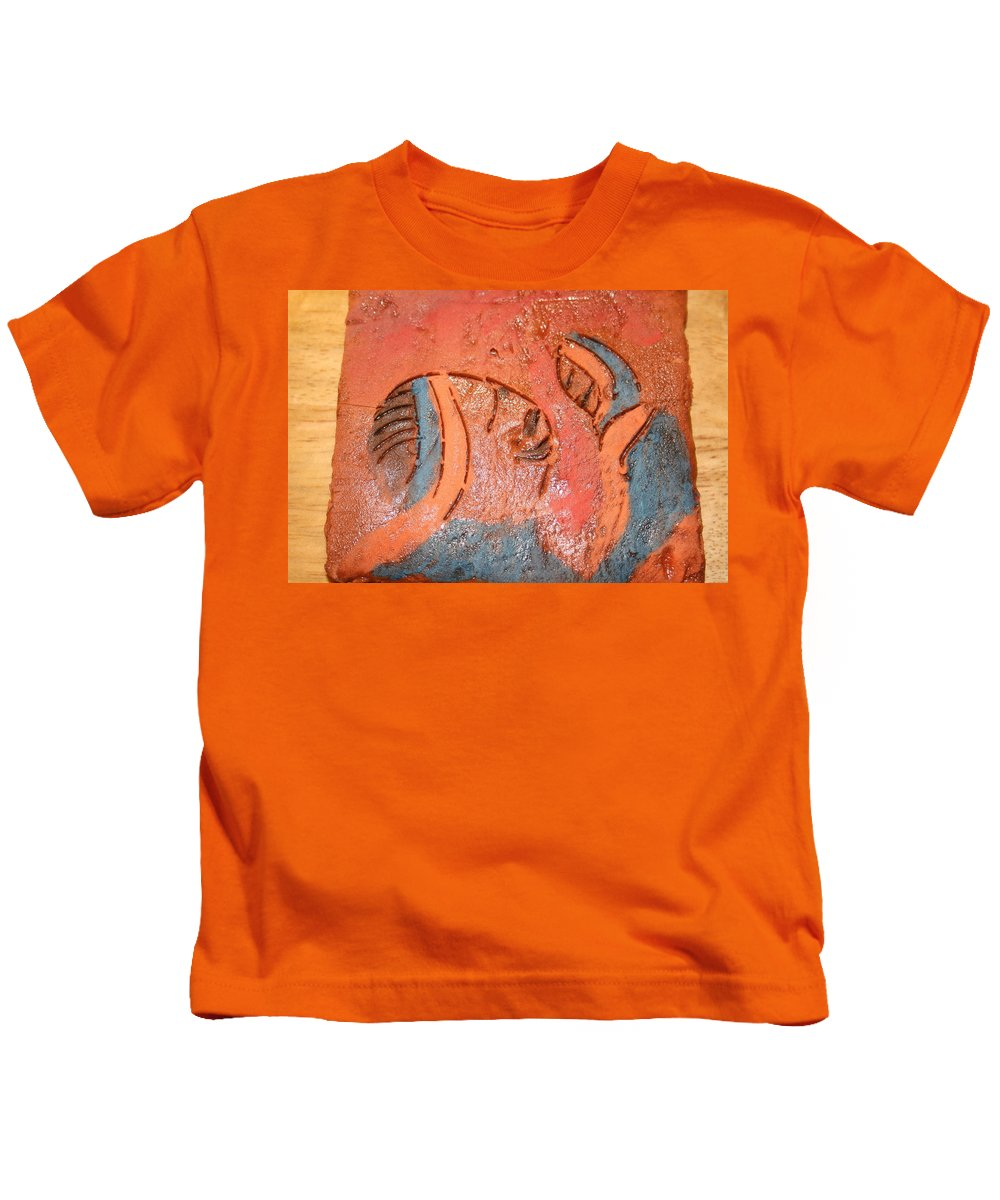Jesus Kids T-Shirt featuring the ceramic art Smiles - Tile by Gloria Ssali
