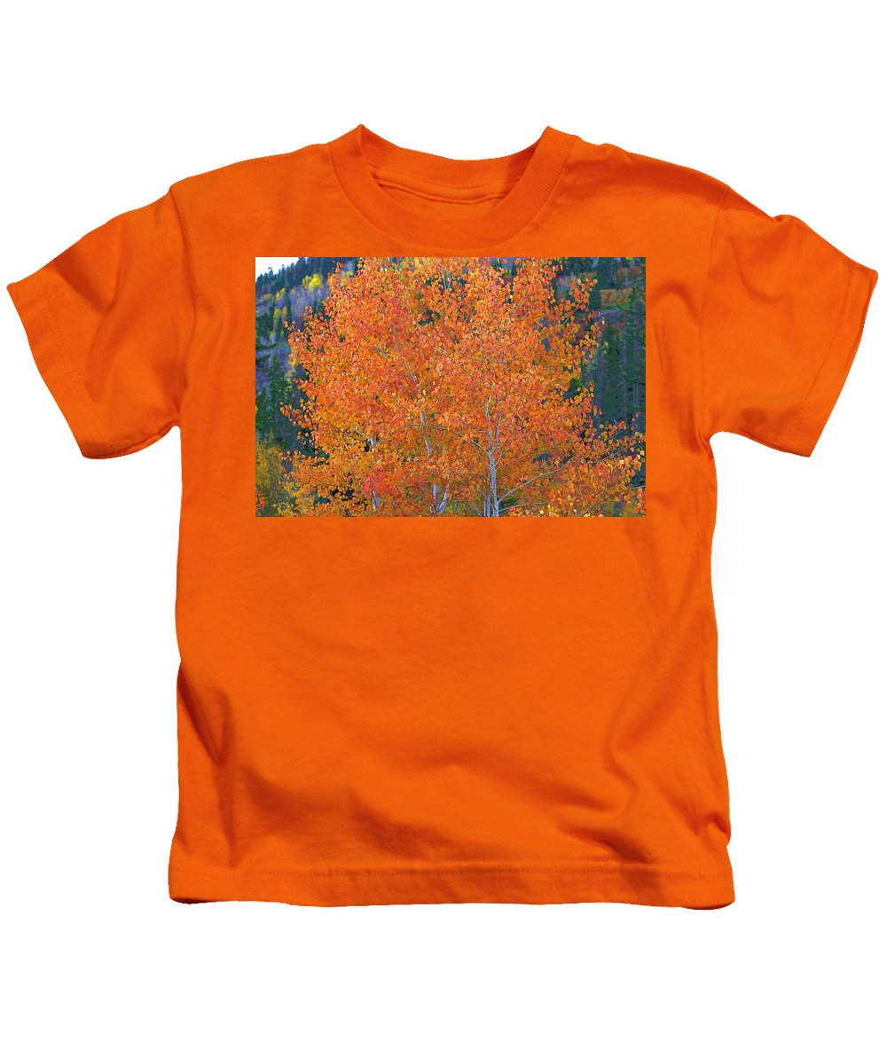 Autumn Kids T-Shirt featuring the digital art Translucent Aspen Orange by Gary Baird