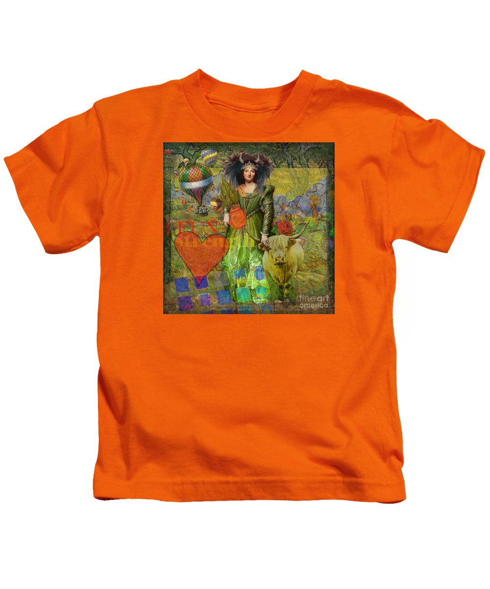 Doodlefly Kids T-Shirt featuring the digital art Vintage Taurus Gothic Whimsical Collage Woman Fantasy by Mary Hubley