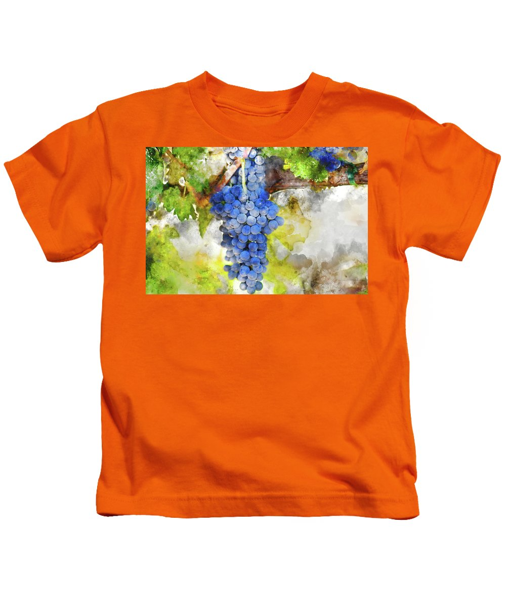 Red Wine Kids T-Shirt featuring the photograph Red Grapes On The Vine by Brandon Bourdages