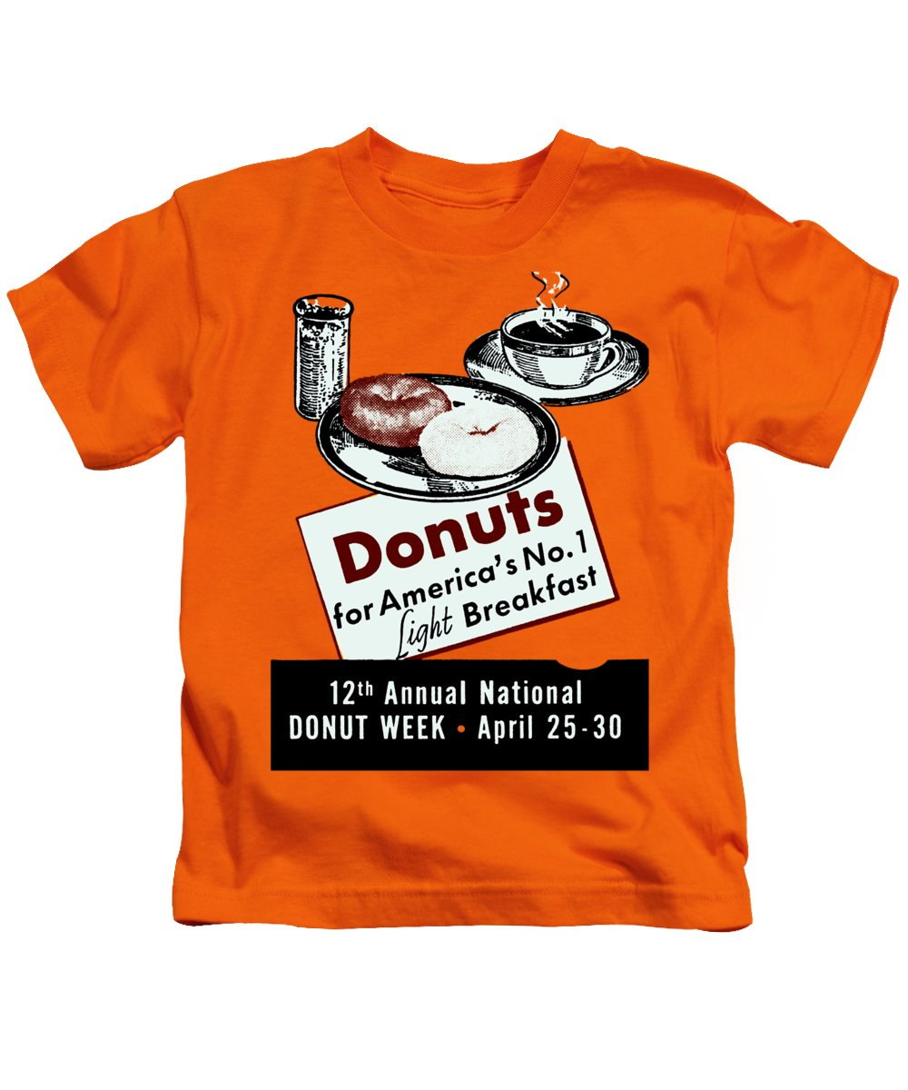 Vintage Kids T-Shirt featuring the painting 1940 Donut Poster by Historic Image