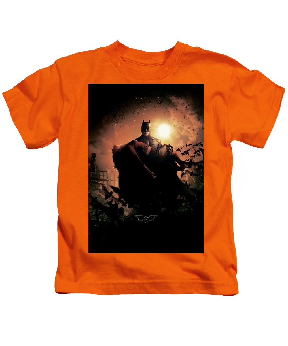 Batman Begins 2005 Kids T-Shirt featuring the digital art Batman Begins 2005 by Geek N Rock