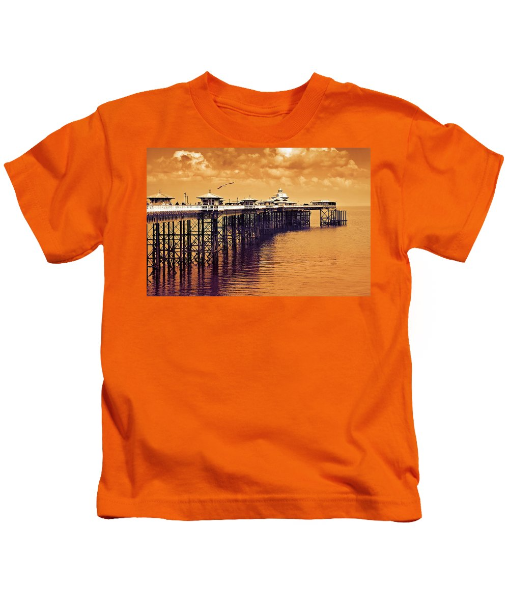 Llandudno Kids T-Shirt featuring the photograph Llandudno Pier North Wales Uk by Mal Bray